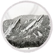 Boulder Flatirons Colorado 1 Round Beach Towel by Marilyn Hunt
