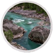 Round Beach Towel featuring the photograph Boulder In The River - Slovenia by Stuart Litoff