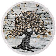 Round Beach Towel featuring the drawing Boulder Love Tree by Aaron Bombalicki