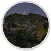 Boulder Moonrise Round Beach Towel
