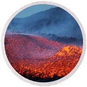 Boulder Rolling In Lava Flow At Dusk Round Beach Towel