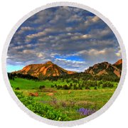 Boulder Spring Wildflowers Round Beach Towel