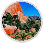 Boulders 7 In Abstract Round Beach Towel