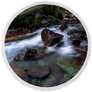 Boulders In Avalanche Creek Round Beach Towel