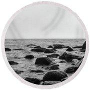 Boulders In The Ocean Round Beach Towel