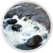 Boulders In The Rapids Round Beach Towel