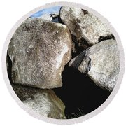 Round Beach Towel featuring the photograph Boulders by Rebecca Harman
