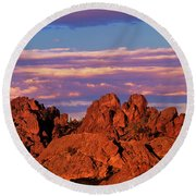 Boulders Sunset Light Pinnacles National Park Californ Round Beach Towel