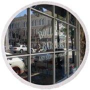 Boulevard Barbers And Shaving Parlor In Petaluma California Usa Dsc3742 Round Beach Towel