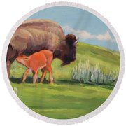 Bouncing Baby Bison Round Beach Towel