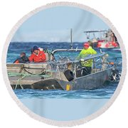 Round Beach Towel featuring the photograph Bouncing Herring by Randy Hall