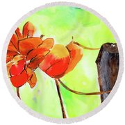 Round Beach Towel featuring the painting Bound Yet Free by Anil Nene