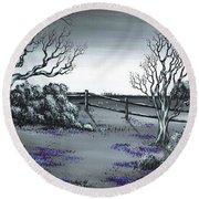 Round Beach Towel featuring the painting Boundry Fence. by Kenneth Clarke
