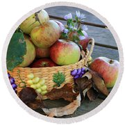 Round Beach Towel featuring the photograph Bountiful Harvest by Rick Morgan