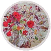 Round Beach Towel featuring the painting Bouquet Desjours by Joanne Smoley