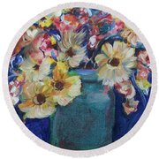 Bouquet Flowers Of Blue  Round Beach Towel