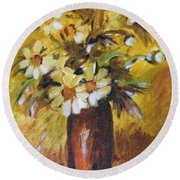 Bouquet Flowers Of Gold Round Beach Towel