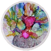 Round Beach Towel featuring the painting Bouquet In Pastel by Joanne Smoley
