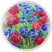 Round Beach Towel featuring the painting Bouquet by Jasna Dragun