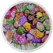 Round Beach Towel featuring the painting Bouquet Of Blooms by Joanne Smoley