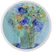 Round Beach Towel featuring the painting Bouquet Of Blue And Gold by Joanne Smoley