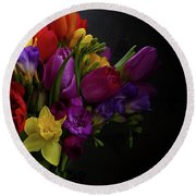Flowers Dutch Style Round Beach Towel