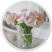 Bouquet Of Delicate Ranunculus And Tulips In Interior Round Beach Towel