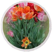 Bouquet Of Colorful Tulips Round Beach Towel by Dora Sofia Caputo Photographic Art and Design