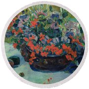 Bouquet Of Flowers Round Beach Towel by Paul Gauguin