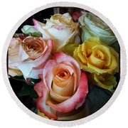 Round Beach Towel featuring the photograph Bouquet Of Mature Roses At The Counter by Mr Photojimsf