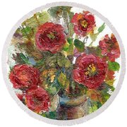 Bouquet Of Poppies Round Beach Towel