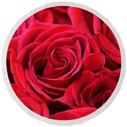 Bouquet Of Red Roses Round Beach Towel