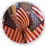 Bouquet Of Us Flags Round Beach Towel by Linda Phelps