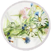Bouquet Of Wildflowers Round Beach Towel