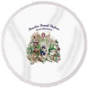 Round Beach Towel featuring the digital art Bourbon French Perfume by ReInVintaged