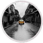 Bourbon Street Taxi French Quarter New Orleans Color Splash Black And White Watercolor Digital Art Round Beach Towel