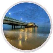 Bournemouth Pier Blue Hour Round Beach Towel by Yhun Suarez