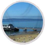 Bournemouth Pier Dorset - May 2010 Round Beach Towel