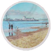 Bournemouth Pier Late Summer Morning Round Beach Towel