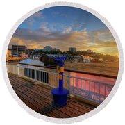 Bournemouth Pier Sunrise Round Beach Towel by Yhun Suarez