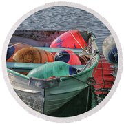 Bouys In A Boat Round Beach Towel