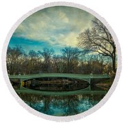 Round Beach Towel featuring the photograph Bow Bridge Reflection by Chris Lord