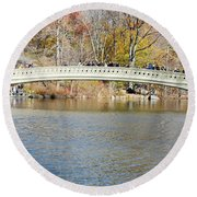 Round Beach Towel featuring the photograph Bow Bridge With Wedding by Steven Richman