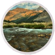 Bow Glacier Stream At Sunset Round Beach Towel