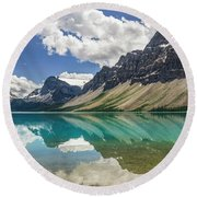 Round Beach Towel featuring the photograph Bow Lake by Christina Lihani