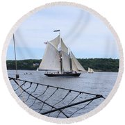 Bowditch Under Full Sail Round Beach Towel