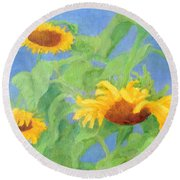 Bowing Sunflowers Colorful Original Painting Round Beach Towel