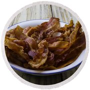 Bowl Of Bacon Round Beach Towel