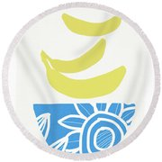 Bowl Of Bananas- Art By Linda Woods Round Beach Towel