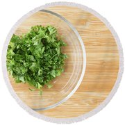 Bowl Of Chopped Parsley Round Beach Towel
